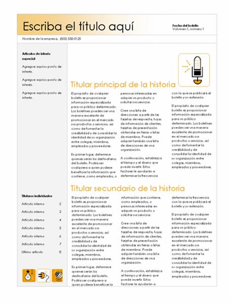 Boletín (tema Accesorio, 4 col.)