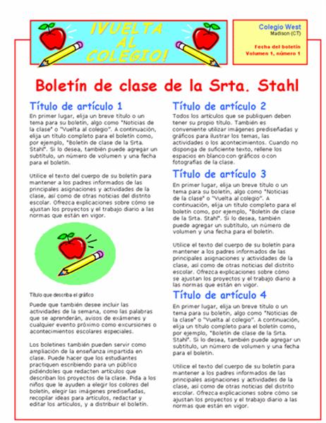 Boletín de clase (2 columnas y 2 páginas)