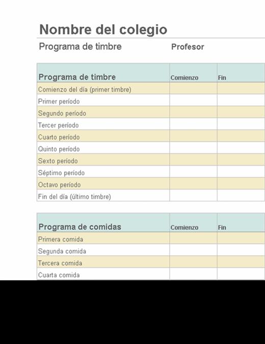 Lista de duraciones de períodos de clase