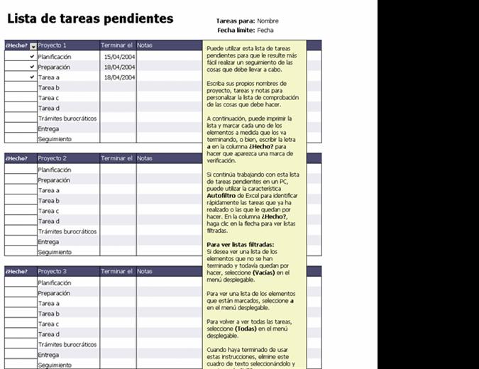 Lista de tareas pendientes de proyectos