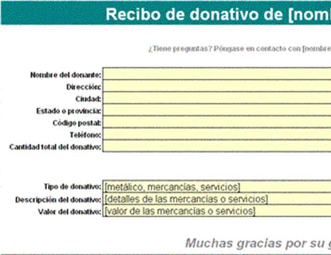Recibo de donativo
