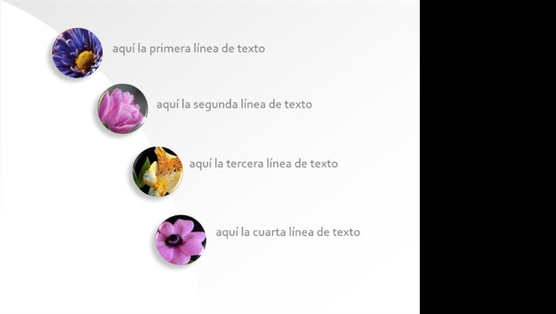 Botones animados con imágenes que crecen y muestran la ruta