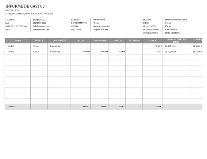 Informe de gastos de la empresa