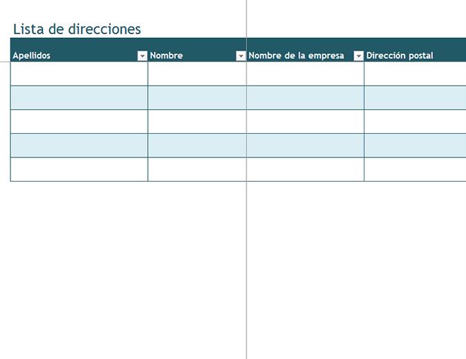 Lista de direcciones