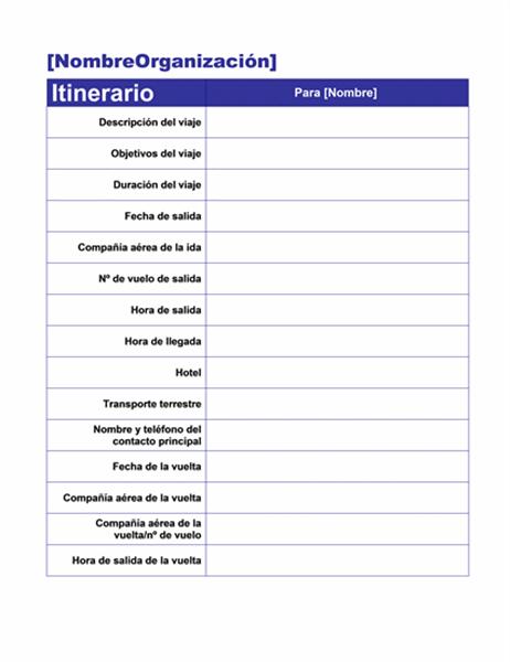 Itinerario de viaje de negocios con datos sobre reuniones