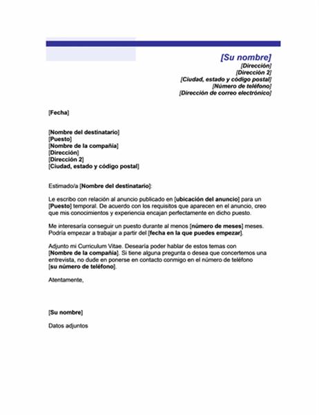 Carta de presentación para un puesto temporal (Tema de línea azul)