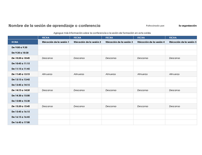 Programa de eventos de cinco días
