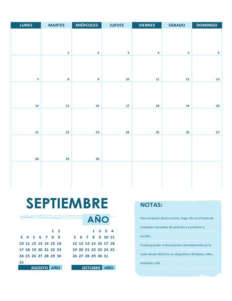 Calendario académico (un mes, cualquier año, comienzo al domingo)