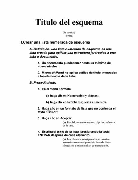 Esquema de cinco niveles con instrucciones