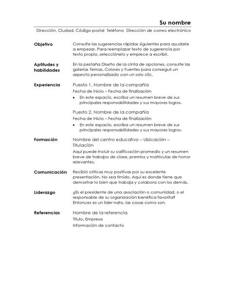 Currículum funcional (diseño minimalista)
