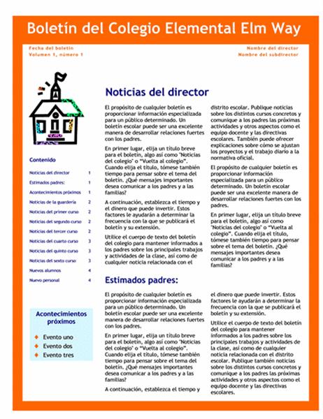 Boletín escolar (3 columnas y 4 páginas)