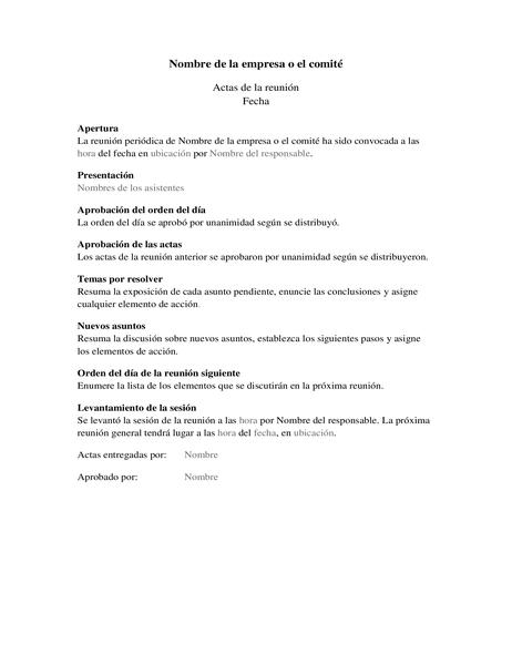 Acta de reunión (formulario largo)