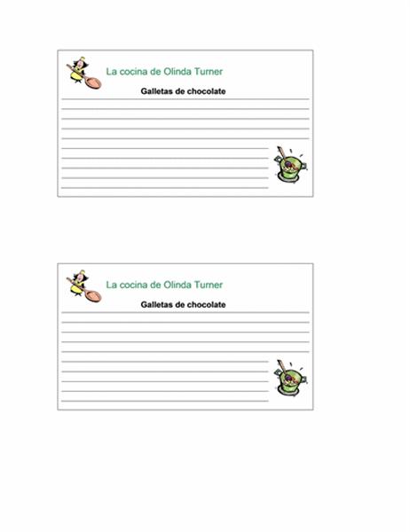 Tarjetas de recetas (personalizadas, 2 págs.)
