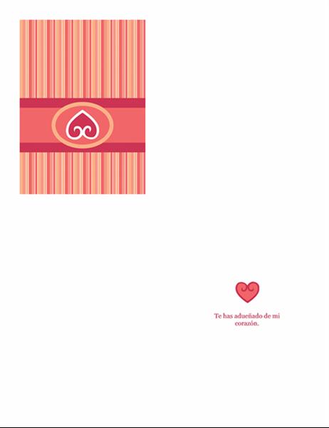 Tarjeta de enamorados (diseño rojo)