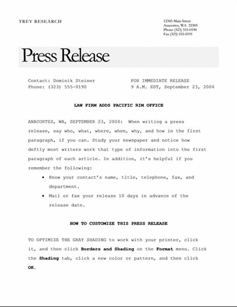 Nota de prensa (tema Elegante)