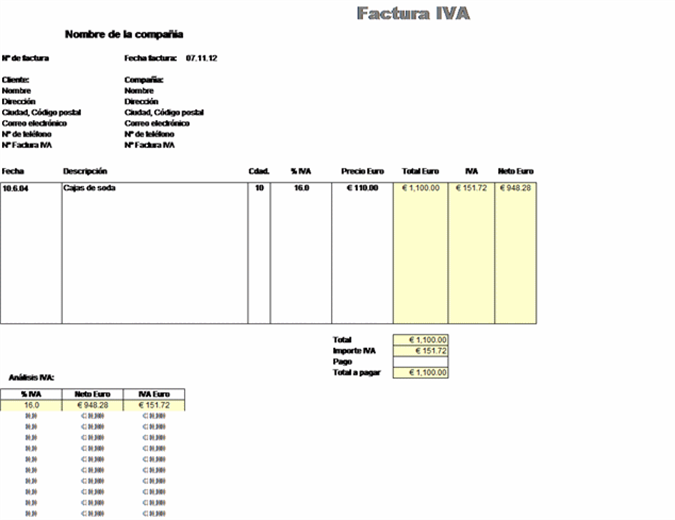 Factura IVA - precio con impuesto incluido