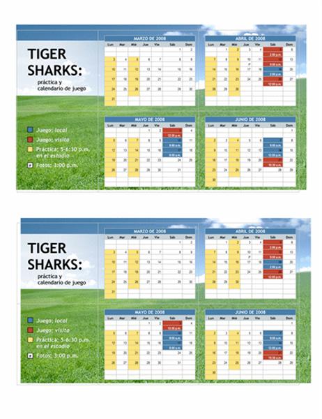 Calendario de bolsillo 2008 para deportes juveniles (meses de primavera)