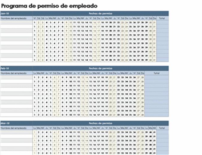 Calendario de ausencias de empleados de 2010