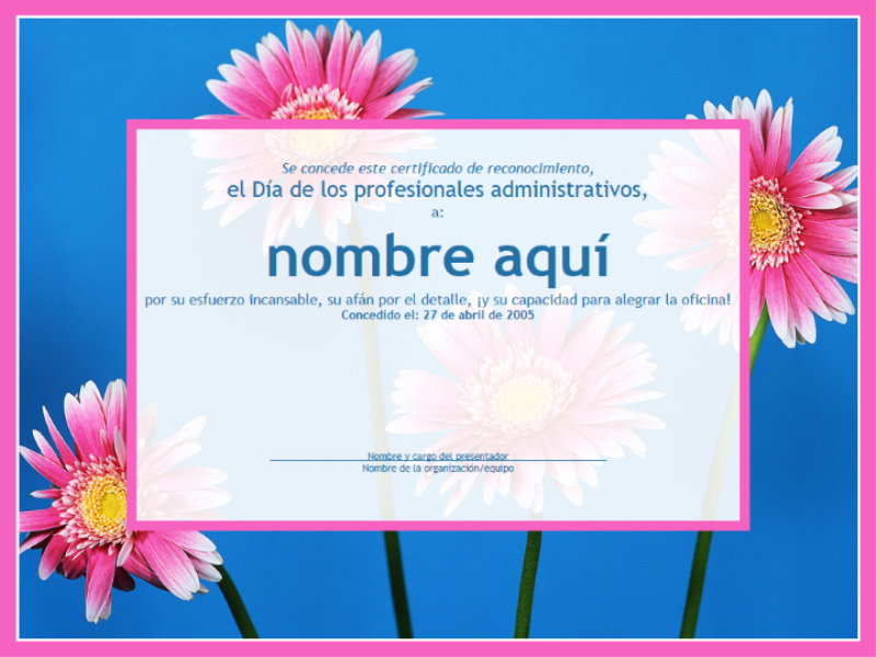 Certificado de profesional administrativo (fondo de imagen)