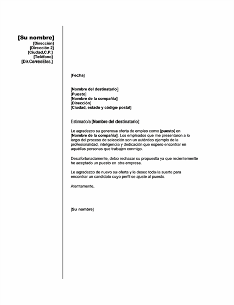 Rechazo de oferta de empleo por otro puesto (tema vertical)