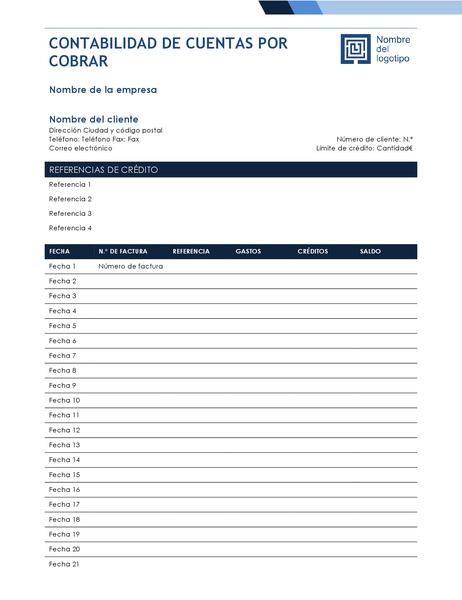 Libro de contabilidad (diseño con degradado azul)