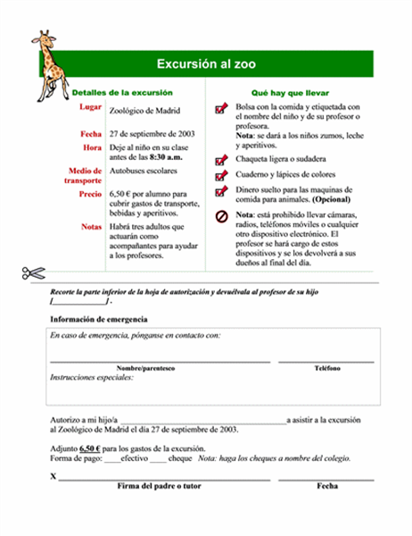 Lista de permisos para una excursión