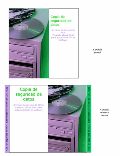 Carátulas de CD de copia de seguridad de datos