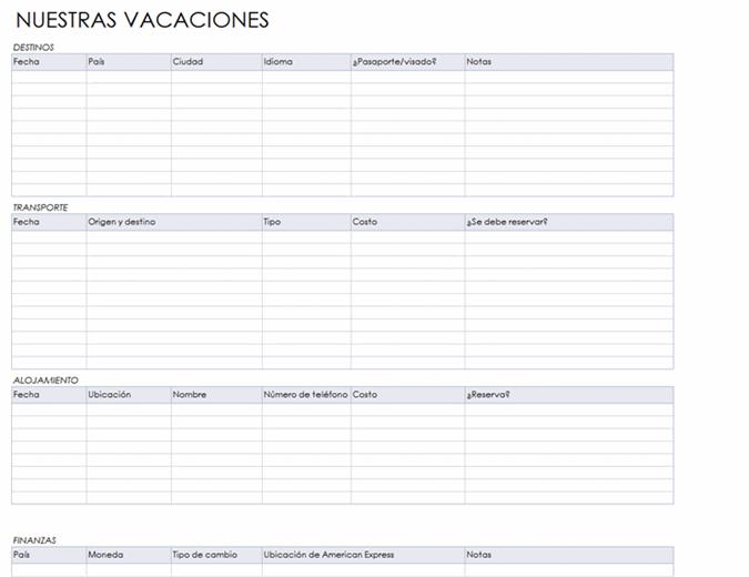 Itinerario por varios países