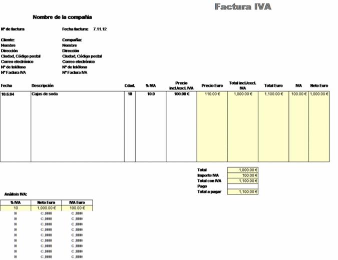 Factura IVA: precio excluidos impuestos