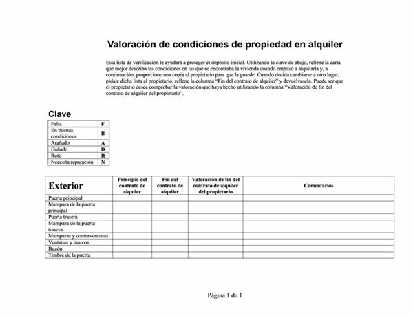 Evaluación de condiciones de propiedad en alquiler