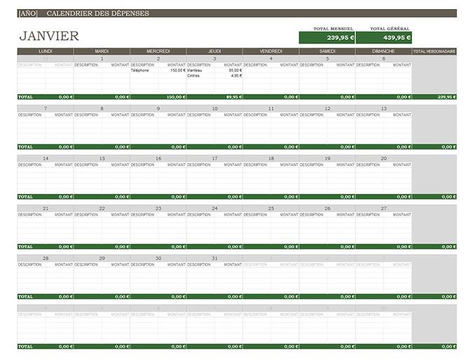 Calendario de gastos (cualquier año)