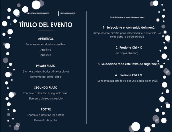 Menú (diseño de Fiesta elegante)