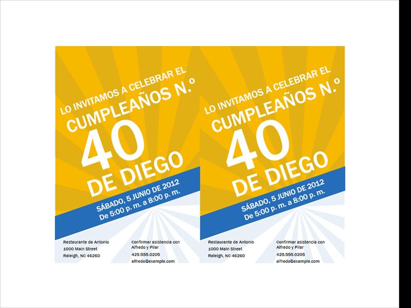 Invitación de cumpleaños (diseño de rayo azul sobre oro)