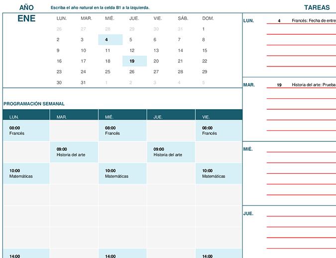Calendario para estudiantes (LUN.)