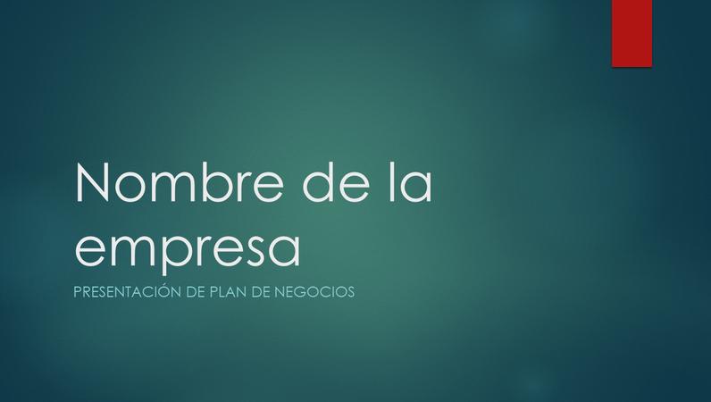 Presentación de plan negocios (diseño verde iónico, panorámico)