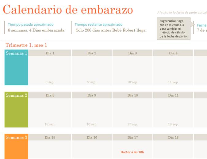 Calendario de maternidad