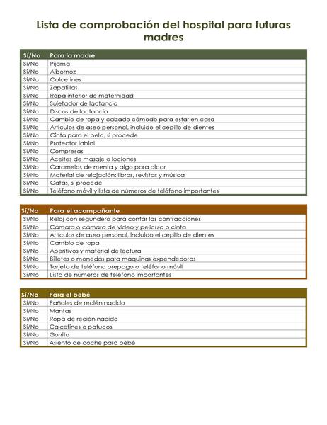 Lista de comprobación del hospital para futuras madres
