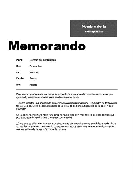 Memorando de oficina (diseño profesional)