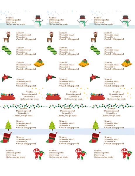Etiquetas de regalo (diseño Espíritu navideño, 30 por página, para Avery 5160)