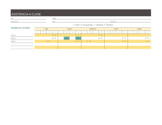 Registro de asistencia semanal a clase