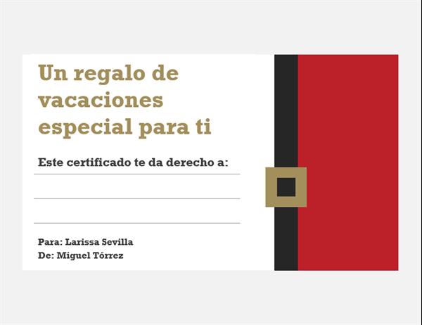 Certificados de regalo navideños (diseño Espíritu navideño, 3 por página)
