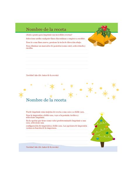 Tarjetas de recetas (diseño Espíritu navideño, 2 por página, para Avery 5889)