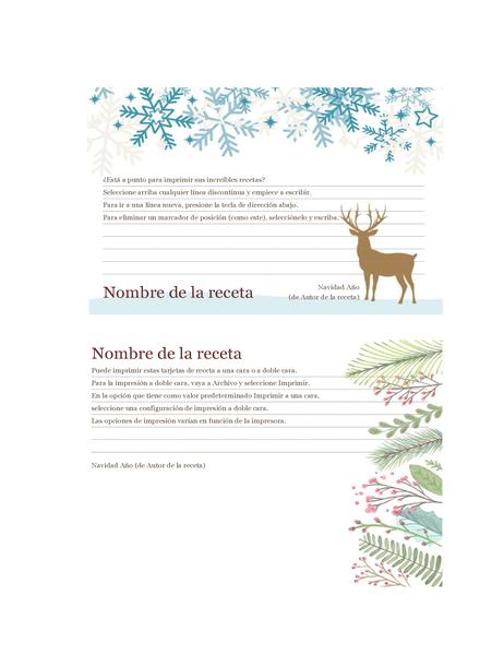 Tarjetas de recetas (diseño Espíritu navideño, para Avery 5889, 2 por página)