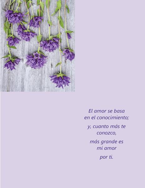 Tarjeta para el día de San Valentín con poesía (se dobla en cuatro partes)