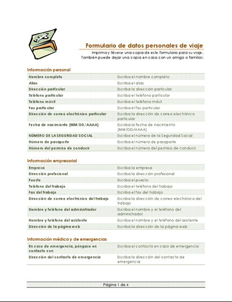Itinerario de viaje y formulario de datos personales