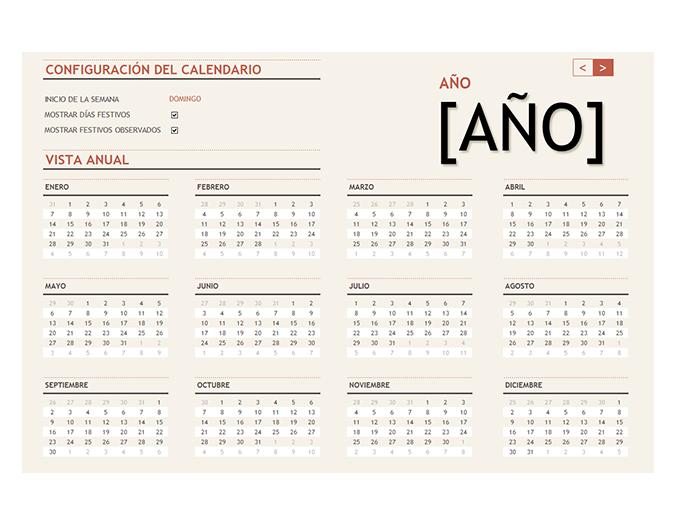 Calendario de cualquier año con días festivos