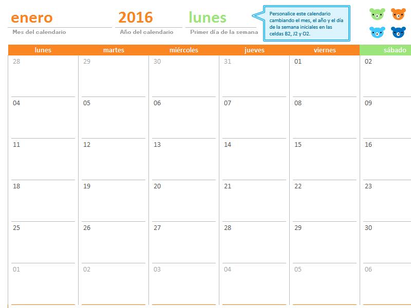 Calendario mensual de cualquier año (12 páginas, diseño Ositos arcoíris)