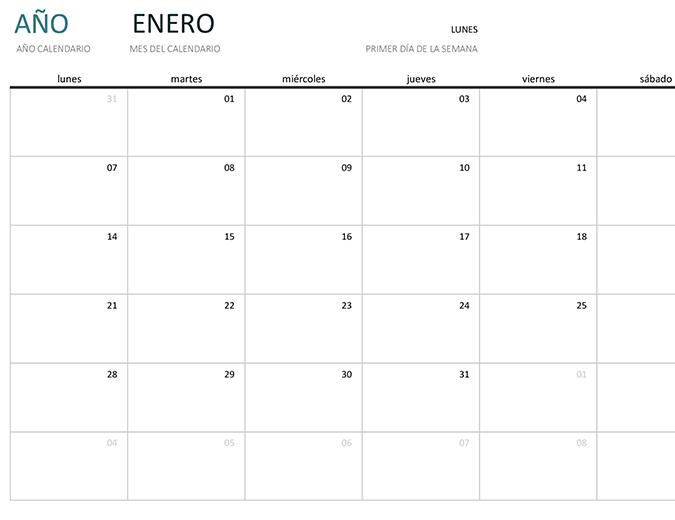 Calendario de un mes de cualquier año
