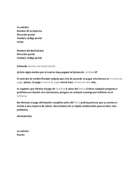 Carta Para Solicitar El Pago De Una Cuenta Atrasada