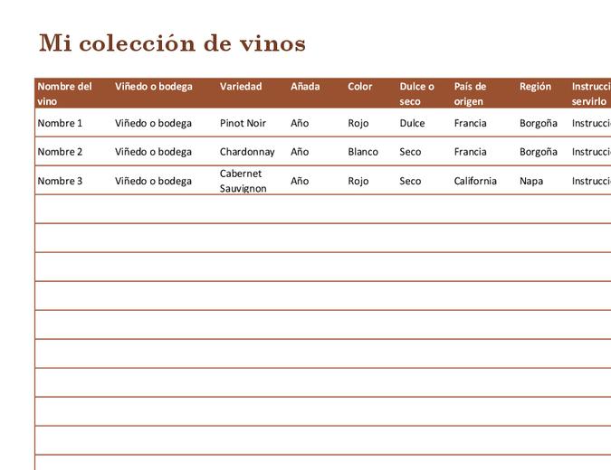Lista de colección de vinos